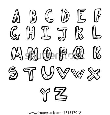 Vector Hand Drawn Alphabet Uppercase Punctuation Stock