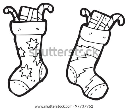 Coloring Page Christmas Sock Color By Stock Vector