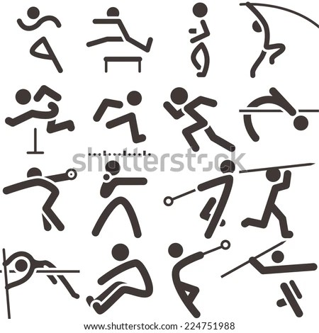 Summer Sports Icons Set Athletics Icons Stock Vector