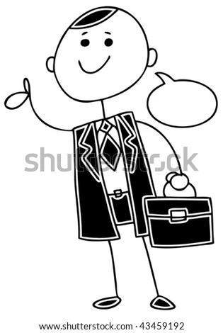 Happy Smiling Stick Man Travel Travel Stock Vector
