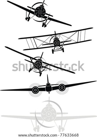 Set of black and gray silhouettes of military aircrafts of
