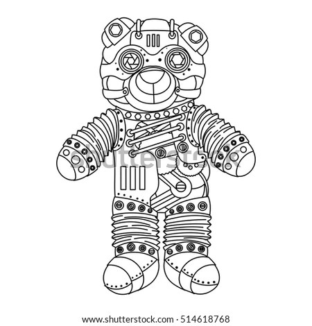Steampunk Style Bear Mechanical Animal Coloring Stock