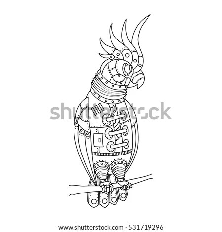 Chameleon Coloring Book Adults Raster Illustration Stock