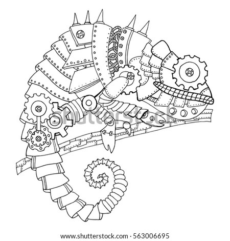 Steampunk Style Chameleon Mechanical Animal Coloring Stock