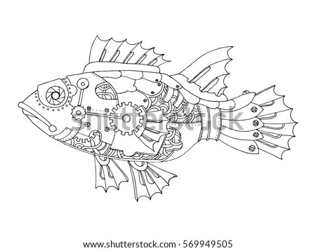 Steampunk Style Fish Mechanical Animal Coloring Stock