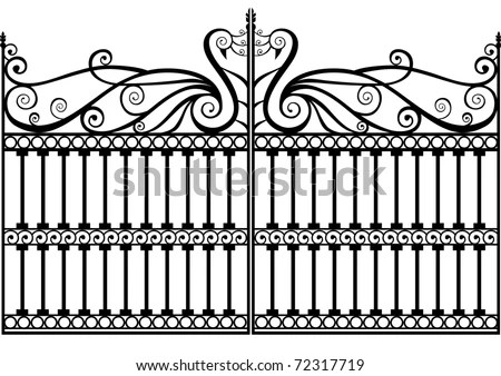Wrought Iron Gate Peacock Swan Swirls Stock Vector