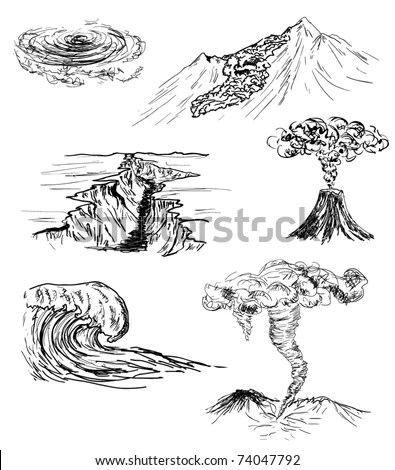 Hand Drawn Sketch Six Natural Disasters Stock Vector