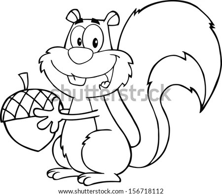 Black And White Cute Squirrel Cartoon Mascot Character