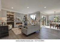 Living Room Interior Gray Brown Colors Stock Photo (Edit ...