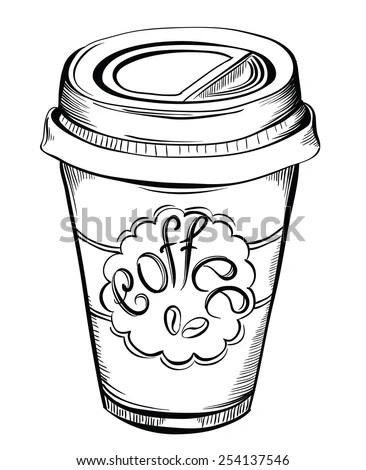 Take Away Coffee Cup Cap Text Stock Vector 626499170