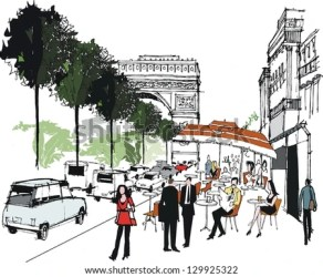 cafe paris scene france vector mall london shopping shutterstock pedestrians
