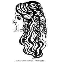 Female Silhouette Beautiful Long Hair Braided Stock Vector ...