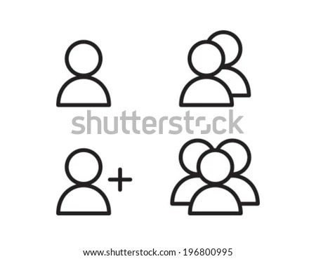 User Profile Group Outline Icon Symbol Stock Vector
