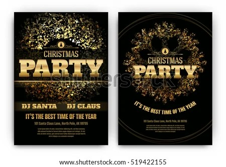 Christmas Party Poster Template Shining Lights Stock