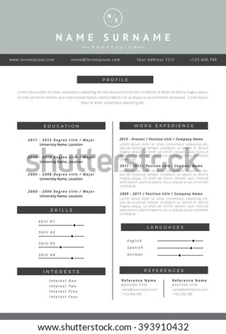 Modern A4 One Page Resume Template Stock Vector 562907149