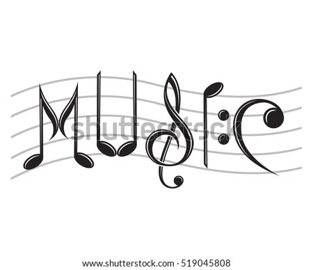 Image Word Music Notes Vector Illustration Stock Vector