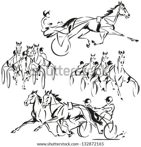 Four Harnessracing Themes Brush Drawingbased Vector Stock