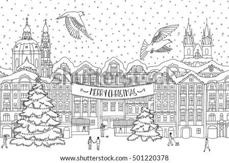 Hand Drawn Black White Illustration City Stock Vector