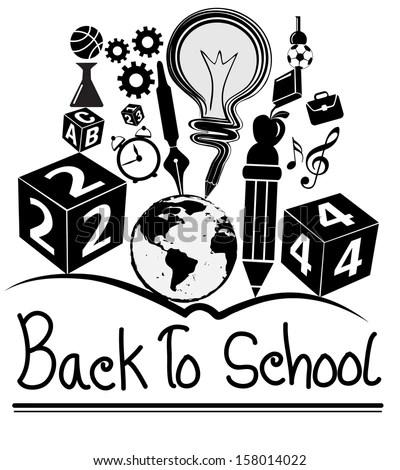 Red Apple Tree Pencil Back School Stock Vector 107169827