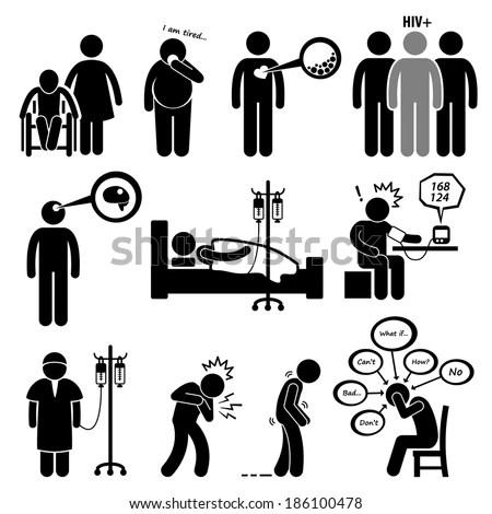 Man Common Diseases Illness Stick Figure Stock Vector