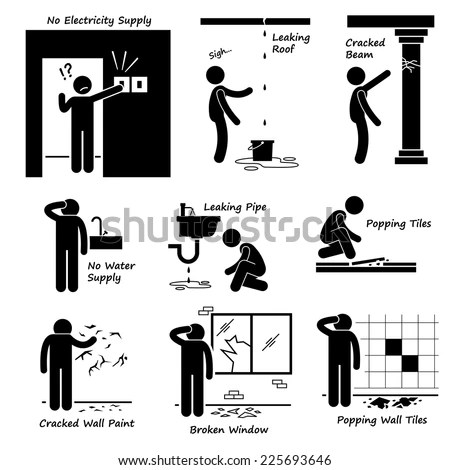 Case Fire Emergency Plan Stick Figure Stock Vector