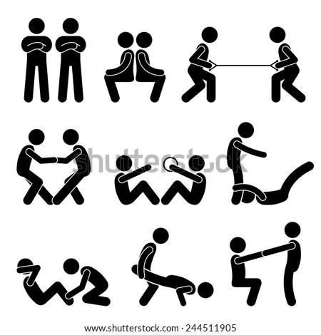 Exercise Workout Partner Stick Figure Pictogram Stock