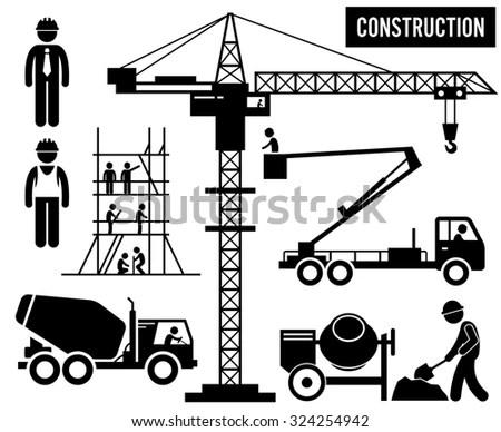 Construction Scaffolding Tower Crane Mixer Truck Sky Lift
