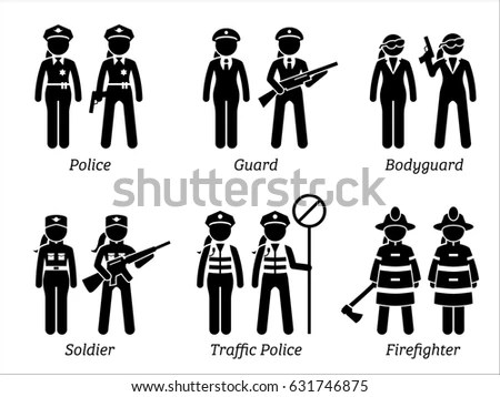 Public Safety Jobs Occupations Women Artworks Stock
