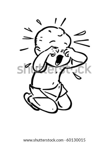 Baby Crying Retro Clip Art Stock Vector 60130015