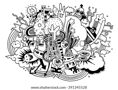 Crazy Doodle Socialdoodle Drawing Stylevector Illustration