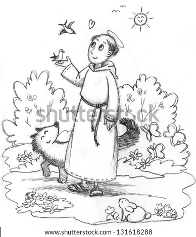 Coloring Illustration Saint Francis Wild Animals Stock
