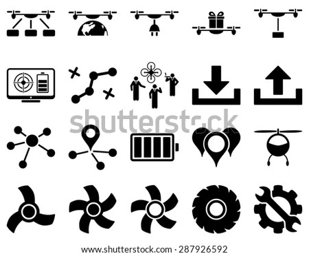 Air Drone Quadcopter Tool Icons Icon Stock Illustration