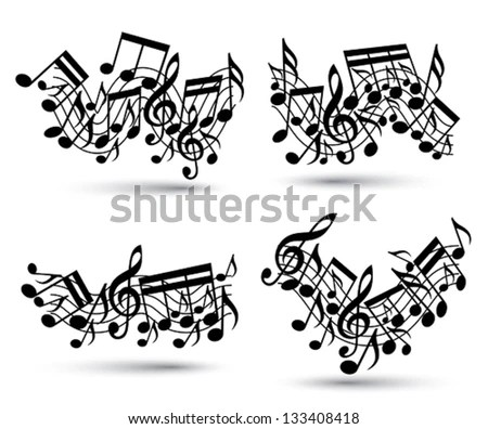 Musical Notes Staff Set Black White Stock Vector 133408418