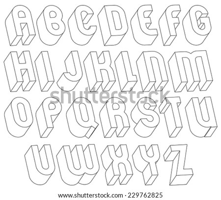 Black White 3d Font Made Thin Imagem Vetorial De Banco