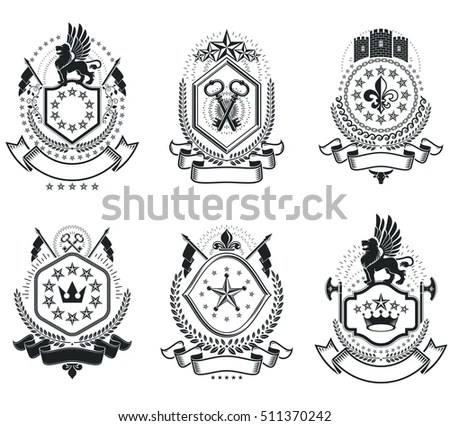 Monarchy Coat Arms Heraldic Royal Emblem Stock Vector