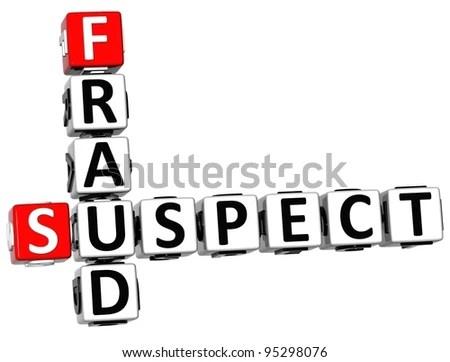 3d Suspect Fraud Crossword Over White Stock Illustration