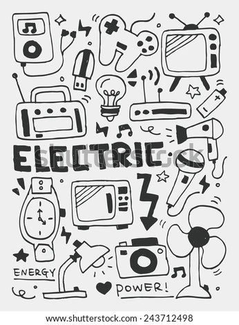 Electric Elements Doodles Hand Drawn Line Stock Vector