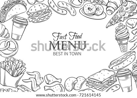 Fast Food Template Frame Page Design Stock Vector