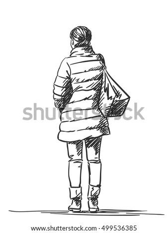 Sketch Woman Wearing Down Jacket Hand Stock Vector