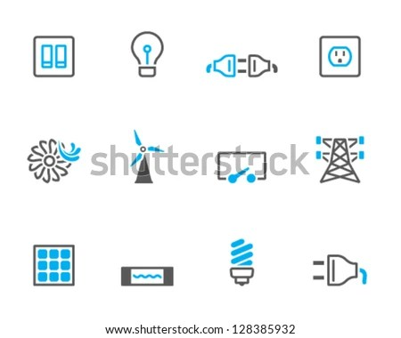 Electricity Icons Duo Tone Colors Stock Vector (Royalty