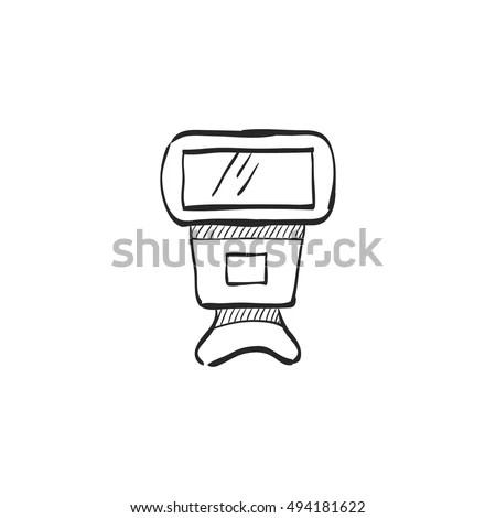 Camera Flash Icon Doodle Sketch Lines Stock Vector
