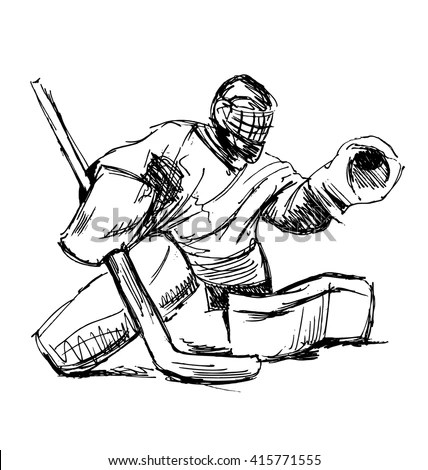 Hand Sketch Hockey Goalie Vector Illustration Stock Vector