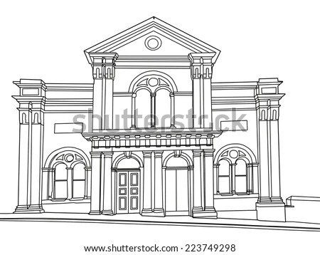 Line Drawing Victorian Classical Building Sowerby Stock