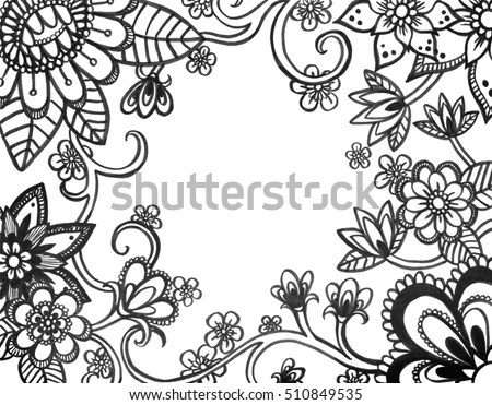 Adult Coloring Book Page Abstract Flower Stock