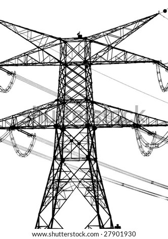 Vector High Voltage Pylons On White Stock Vector 592041644