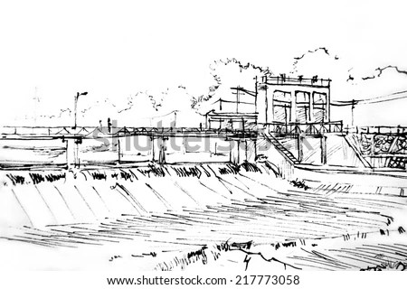 Dam Hand Draw Sketch Picture Stock Illustration 217773058