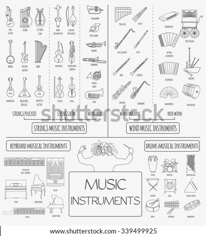 Musical Instruments Graphic Template All Types Stock