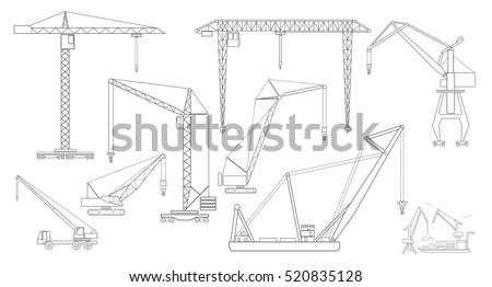 Crane Lifting Machine Outline Icon Set Stock Vector