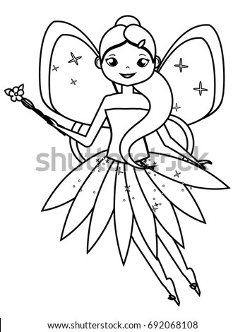 Coloring Page Cute Flying Fairy Holding Stock Vector