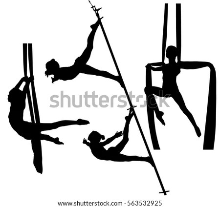 Collection Black Silhouettes Air Gymnasts On Stock Vector